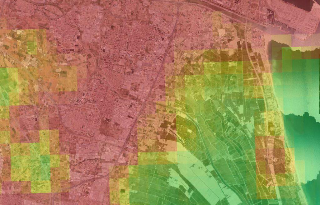 Vista de la contaminación lumínica de Valencia con la herramienta Indicadores Ambientales
