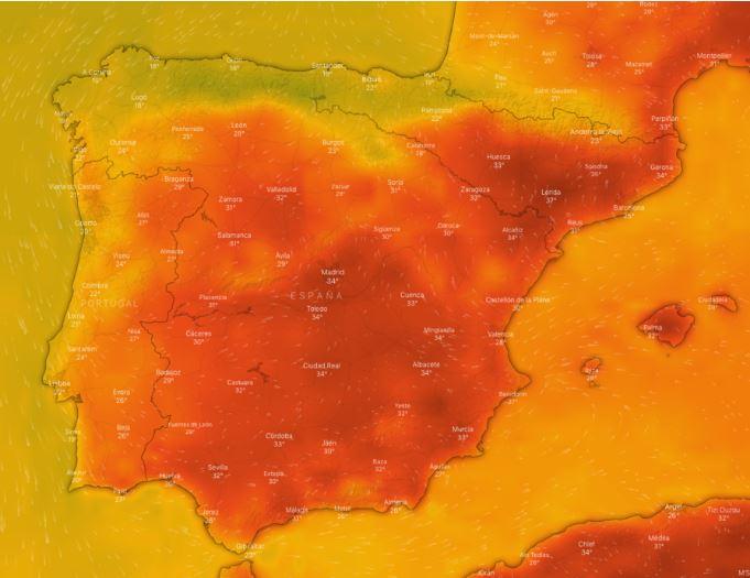 Mapa de calor de España durante los últimos días