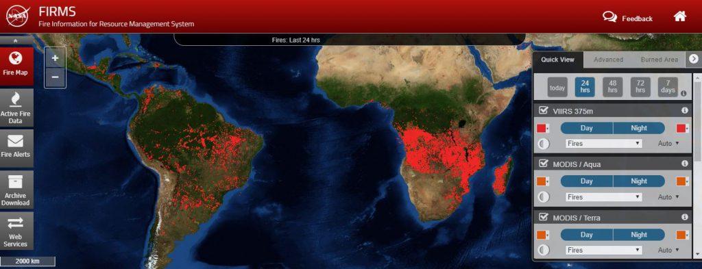 La NASA monitoriza los incendios forestales de todo el mundo con la herramienta FIRMS