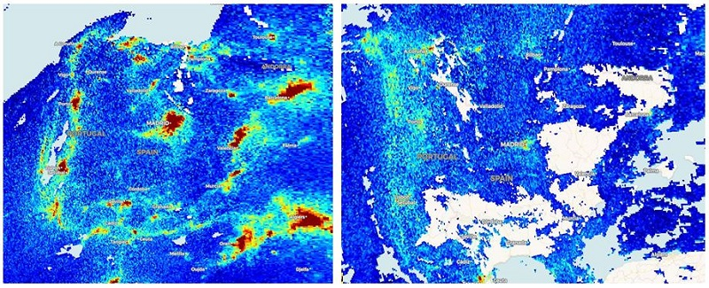 Imágenes comparando niveles de contaminantes antes y durante la cuarentena